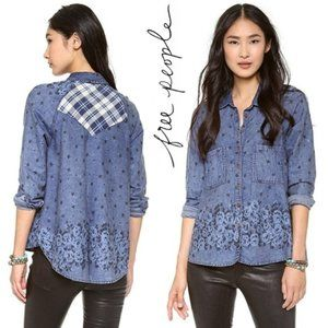 Free People Dottie Over You Chambray Top